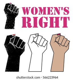 Raised women's fist, vector