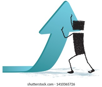 Raising an arrow, isolated on white background. Stick figure making a great effort to lift an arrow. A metaphor for the effort you have to do to succeed.