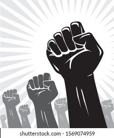 Raising Fist in the Air, Group Silhouette