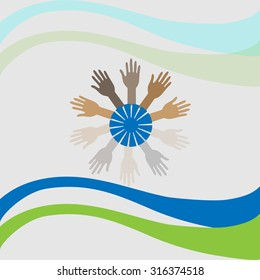 Raising Hands around the Globe, Concept of Volunteer support, Charity, Outreach and Unity.
