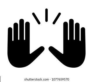 Raising hands to celebrate flat vector icon for apps and websites