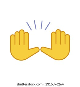 Raising hands gesture color icon. Stop, surrender gesturing. Waving two palms emoji. Isolated vector illustration