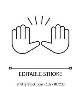 Raising hands gesture linear icon. Thin line illustration. Stop, surrender gesturing. Waving two palms emoji. Contour symbol. Vector isolated outline drawing. Editable stroke