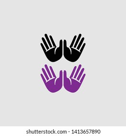 raising hands icon color and black
