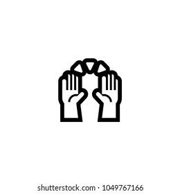 Raising hands icon. Raising hands emoticon