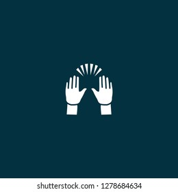 Raising Hands icon. Raising Hands icon on blue background