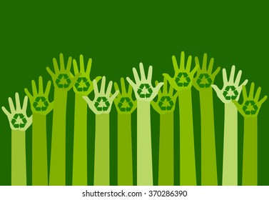 raising hands with a recycle symbol. eco friendly design template. care of environment concept. vector