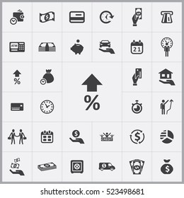raising the percentage icon. credit icons universal set for web and mobile