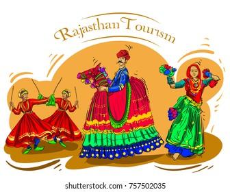 Rajasthan culture pop color vector illustration