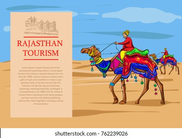 Rajasthan desert camel vector illustration