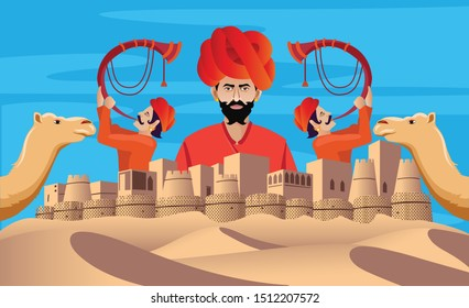 rajasthan fort with cultural man and camel collage design vector illustration