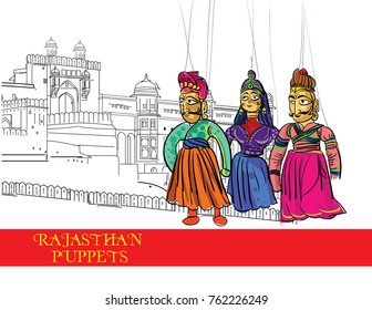 rajasthan puppet art vector illustration