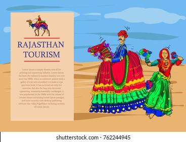 rajasthan tourism vector illustration