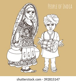 Rajasthani girl and boy hand drawn illustration