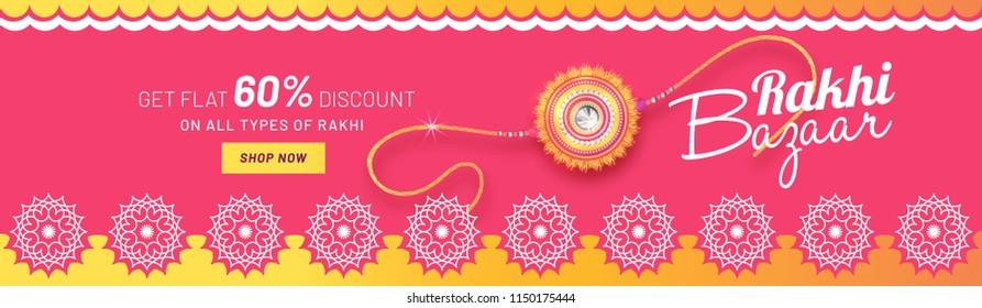Rakhi Bazar sale header or banner design with get flat 60% discount offer and beautiful rakhi (wristband) for Raksha Bandhan celebration concept.