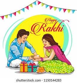 Rakhi celebration in india vector illustration