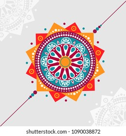 Rakhi decorative vector illustration concept for celebrating Raksha Bandhan  festival.