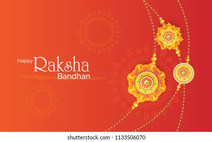 Rakhi Festival Background Design with Creative Rakhi Illustration - Indian Religious Festival Raksha Bandhan Background Vector Illustration