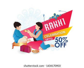 Rakhi Festival Background Design with Creative Rakhi Illustration, brother and sister festival