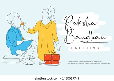 Rakhi, Indian brother and sister festival Raksha Bandhan concept. - Vector