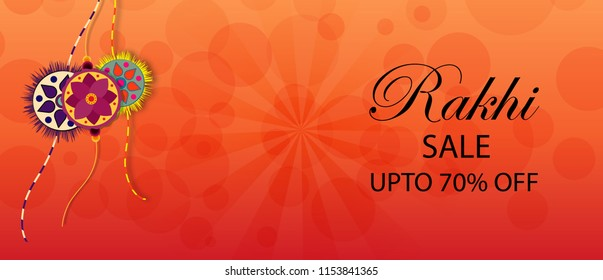 Rakhi sale banner design and illustration with  designer rakhi  on orange background. vector banner design.