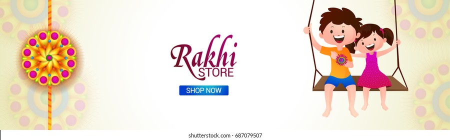 Rakhi Store social media banner design with characters of cute brother and sister enjoying on swing.