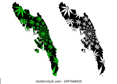 Rakhine State (Administrative divisions of Myanmar, Republic of the Union of Myanmar, Burma) map is designed cannabis leaf green and black, Arakan State map made of marijuana (marihuana,THC) foliage