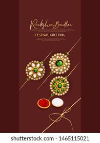 Raksha Bandhan banner or poster design with Creative Rakhi Illustration Indian Festival