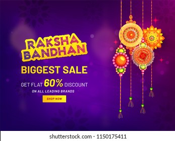 Raksha Bandhan Biggest Sale banner or poster design, get flat 60% discount offer with Hanging rakhi (wristbands) on purple mandala background.