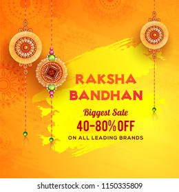 Raksha Bandhan Biggest Sale banner or poster design with 40-80% off offer and decorated rakhi ( wristbands) on shiny yellow brush stroke background.