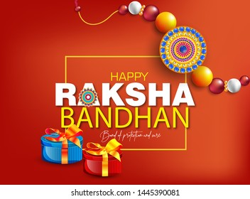 Raksha Bandhan Design with Creative Rakhi,Indian festival of sisters and brothers loves