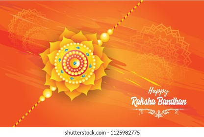 Raksha Bandhan Festival Background Design With Creative Rakhi Illustration-Indian Religious Festival Raksha Bandhan Background Template Design