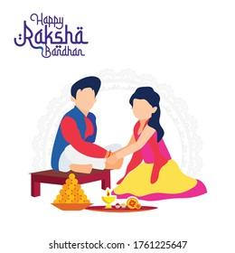 Raksha Bandhan festival. Sister tying rakhi to brother. Rakhi festival.
