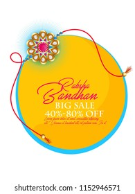 Raksha Bandhan greeting card design with floral rakhi (wristband) on abstract background. Can be used as greeting card design.