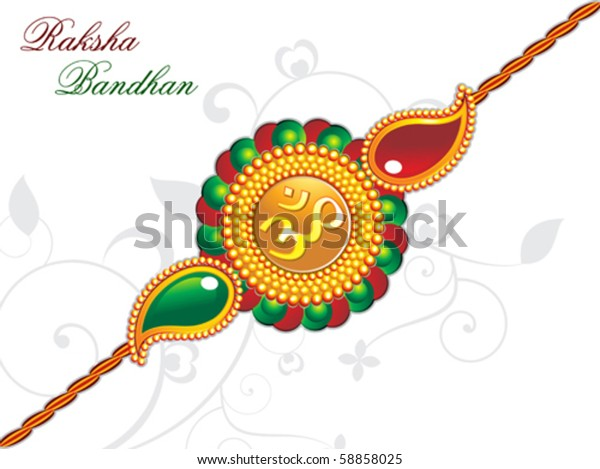 Raksha Bandhan Theme Rakhi Vector Illustration Stock Vector