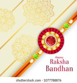 Raksha Bandhan vector background. Rakshabandhan greeting card with rakhi (a talisman or amulet). Hindu festival to symbolize the love between a brother and a sister.