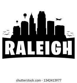 Raleigh North Carolina. City Skyline. Silhouette Banner City. Design Vector. Famous Monuments.