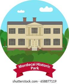 Raleigh North Carolina landmark. Mordecai Historic Park Mordecai House Greek Revival. Vector Image