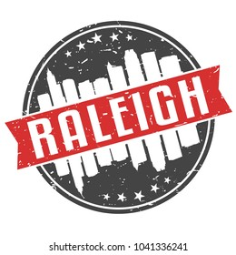 Raleigh North Carolina Round Travel Stamp. Icon Skyline City Design Vector.