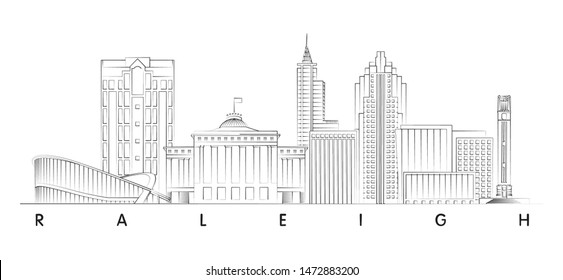 Raleigh, North Carolina skyline minimal vector illustration and typography design