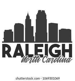 Raleigh North Carolina Skyline Souvenir Travel Vector Art Design Tourism