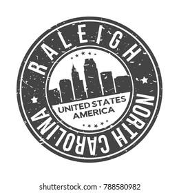 Raleigh North Carolina USA Stamp Logo Icon Symbol Design Skyline City