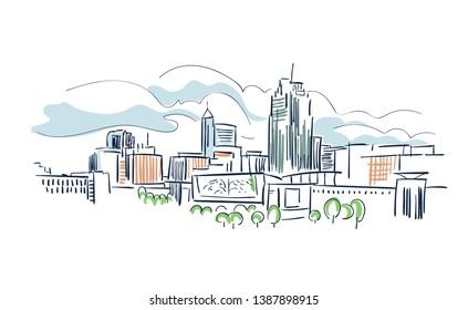 Raleigh North Karolina usa America vector sketch city illustration line art