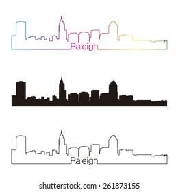 Raleigh skyline linear style with rainbow in editable vector file