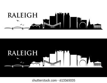 Raleigh skyline - North Carolina - vector illustration