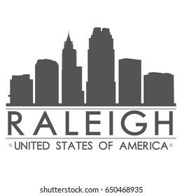 Raleigh Skyline Silhouette Design City Vector Art
