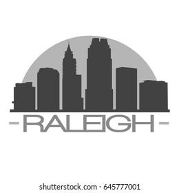 Raleigh Skyline Silhouette Skyline Stamp Vector City Design