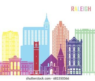 Raleigh V2 skyline pop in editable vector file