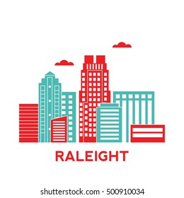 Raleight city architecture retro vector illustration, skyline city silhouette, skyscraper, flat design