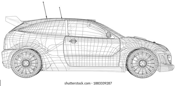 Rally car illustration vector. Wire-frame line isolated. Vector rendering of 3d.